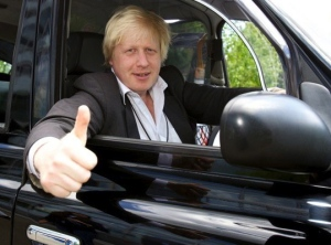 Boris in a taxi